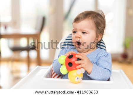 One Year Old Baby Girl Is Yawning - stock photo