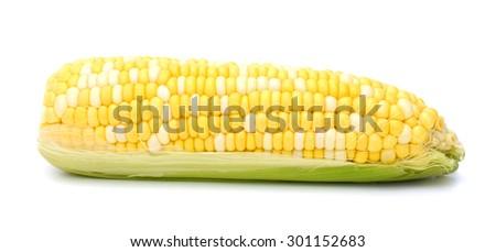 one yellow corn on white background  - stock photo