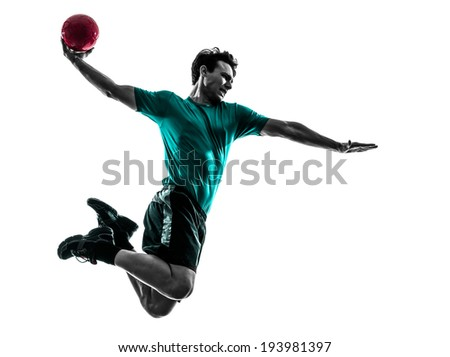 one  young man exercising handball player in silhouette studio on white background - stock photo