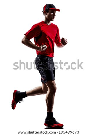 one young man runner jogger running jogging in silhouette isolated on white background - stock photo