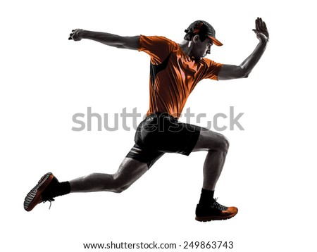 one young man runner jogger running jogging jumping in silhouette isolated on white background - stock photo