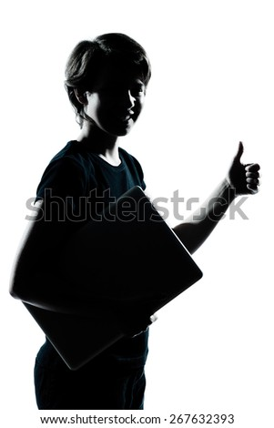one  young teenager silhouette boy girl holding carrying laptop computer thumb up portrait in studio cut out isolated on white background - stock photo