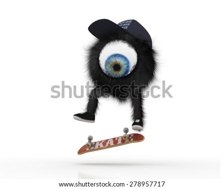 OneEye Skater - Fakie 360 Flip - stock photo