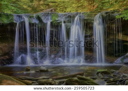 Oneida Falls at Ricketts Glen State Park, Pennsylvania - stock photo