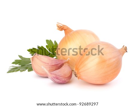 Onion and garlic clove isolated on white background - stock photo
