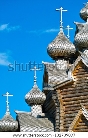 Onion Domes of loghouse Orthodox Church in North Russian style - stock photo