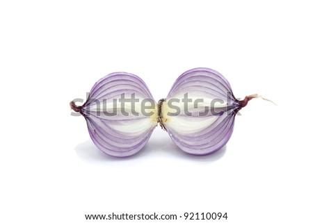 Onion  on white background , kiss - stock photo