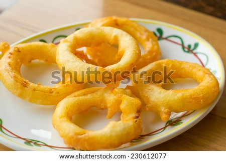 onion rings and dip sauce on the plate  - stock photo