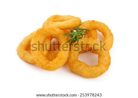Onion rings isolated on white background - stock photo