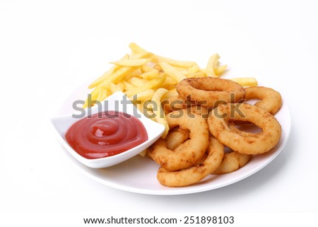 Onion rings on a white background - stock photo