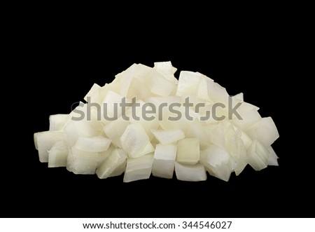 Onion slice closeup isolated on black background - stock photo