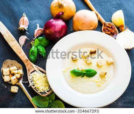 onion soup puree in a white plate with vegetables  on the black background - stock photo