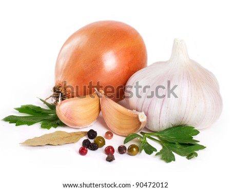 onion with garlic and spices isolated on white background - stock photo