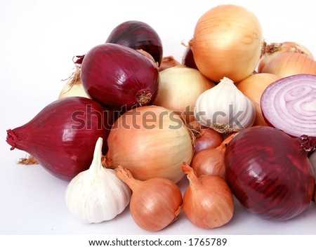 Onions and garlic, isolated on white, - stock photo