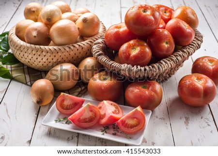 Onions and tomatoes - stock photo