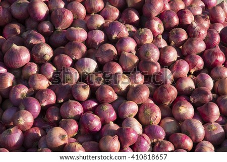 Onions for sale at a farmer's market in Punjab, India - stock photo
