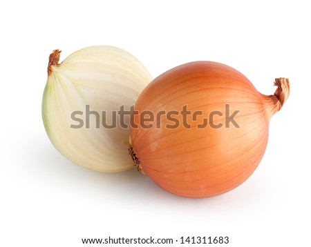 Onions isolated with clipping path - stock photo