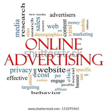 Online Advertising Word Cloud Concept with great terms such as new media, social, click, sales, web, cookies and more. - stock photo