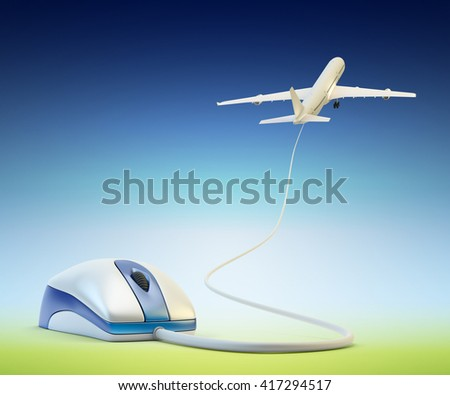 Online air tickets booking, flight reservation and travel concept, computer mouse and flying up airplane on blue sky background, 3d illustration - stock photo