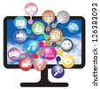 Online and Internet Social Network or Social Media Concept Present By Computer LCD or LED Monitor With Group of Colorful Social Media or Social Network Icon Isolated on White Background - stock photo