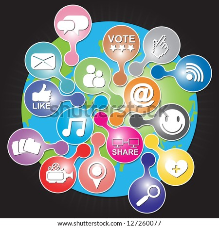 Online and Internet Social Network or Social Media Concept Present By The Earth With Group of Colorful Social Media or Social Network Icon in Black Shiny Background - stock photo