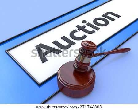 Online auction. Gavel on website marketplace. Conceptual image. 3d  - stock photo