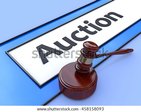 Online auction. Gavel on website marketplace. Conceptual image. 3d in the design of information related to business and trade. 3d illustration - stock photo