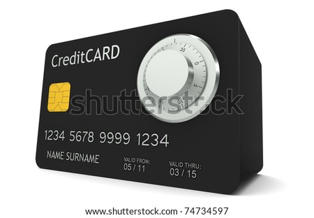 Online Banking. A credit card made like a safe with Combination Lock - stock photo