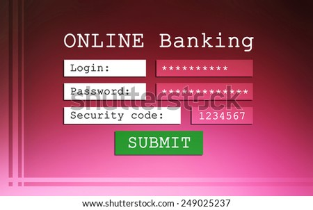 Online banking background - login, password and security code - stock photo