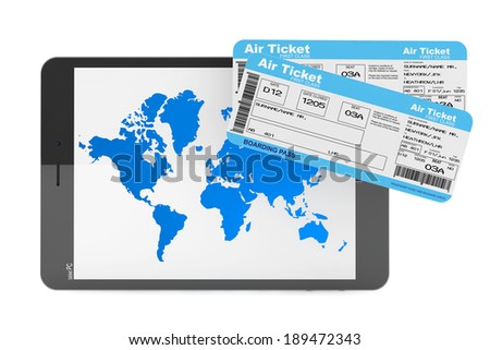 Online booking concept. Tablet PC with air tickets on a white background - stock photo