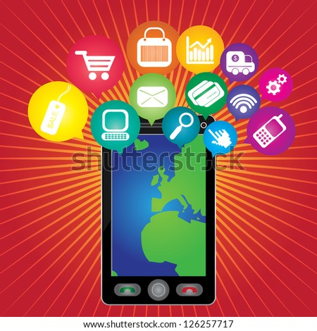 Online Business and E-Commerce Concept Present By Black Smart Phone With World Map in Screen and Group of Colorful E-Commerce Icon Above in Red Shiny Background - stock photo