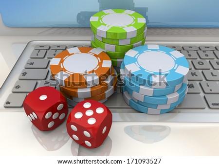 Online Casino Concept - 3D - stock photo