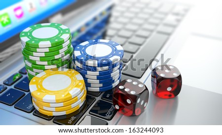 Online casino. Dices and chips on laptop. 3d - stock photo