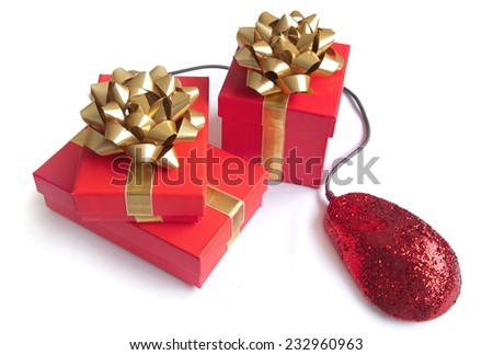 Online Christmas shopping - stock photo