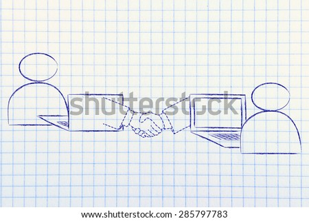 online collaborations: users virtually shaking hands through the web - stock photo