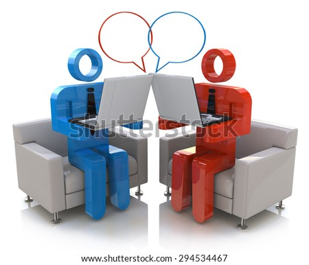 Online communication. Chatting  - stock photo