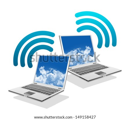Online Communication Concept, Present By Computer Laptop With Blue Wifi Sign Isolated on White Background  - stock photo