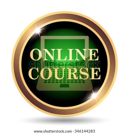 Online course icon. Internet button on white background. - stock photo