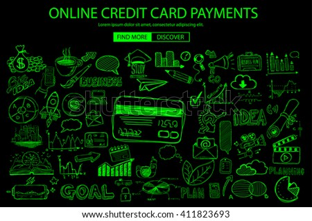 Online credit card payment concept with Doodle design style online purchases, banking, money spending. Modern style illustration for web banners, brochure and flyers. - stock photo