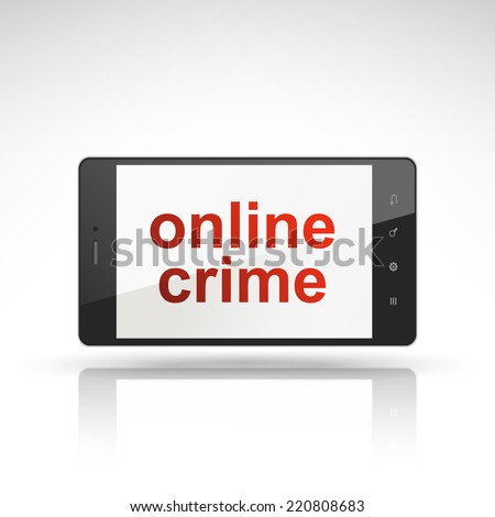 online crime words on mobile phone isolated on white - stock photo