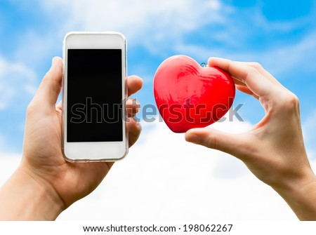 Online dating. Love and technology concept. - stock photo
