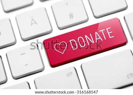 online donate key on keyboard - stock photo