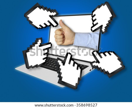 Online economic forecast concept with a businessman giving a thumbs up gesture of success and approval with pointing hand icons pointing at the laptop screen from all sides - stock photo