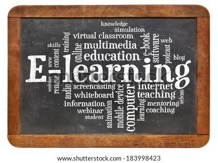 online education concept - e-learning word cloud on a vintage slate blackboard - stock photo