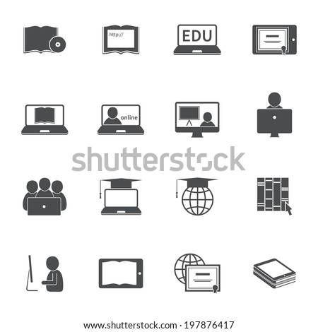Online education e-learning silhouette video tutorial training icons set  illustration - stock photo