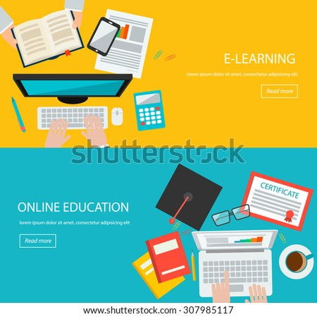 Online education, e learning web banners with people hands, laptop,  certificate, graduation hat etc - stock photo