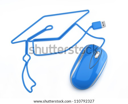 Online education, or online degree concept. Blue mouse with cord in the shape of a graduation cap on a white background. - stock photo