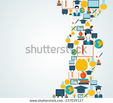 Online education school university e-learning graduation flat decorative icons collection set  illustration - stock photo