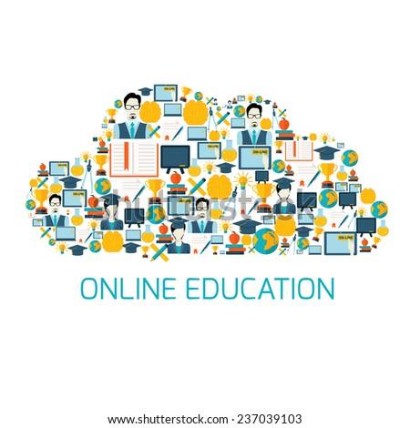 Online education school university e-learning graduation flat decorative icons set in cloud shape  illustration - stock photo