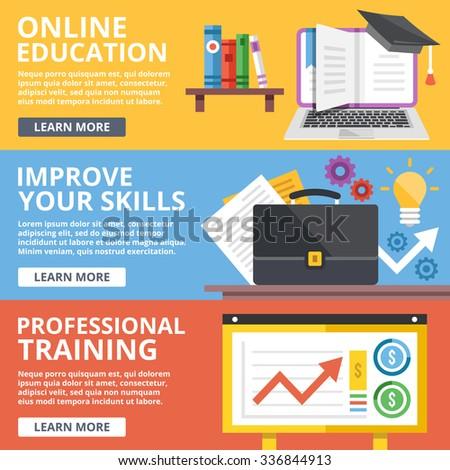 Online education, skills improvement, professional training flat illustration concepts set. Modern flat design concept for web banners, web sites, printed materials, infographics. Flat illustration - stock photo